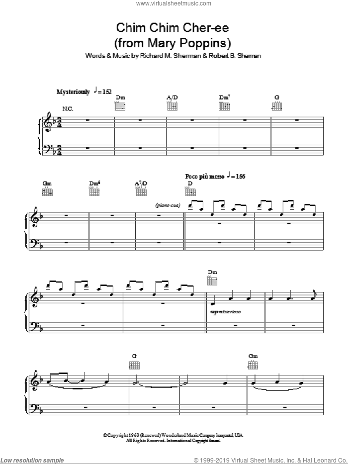Chim Chim Cher-ee sheet music for piano solo (chords) by Robert B. Sherman