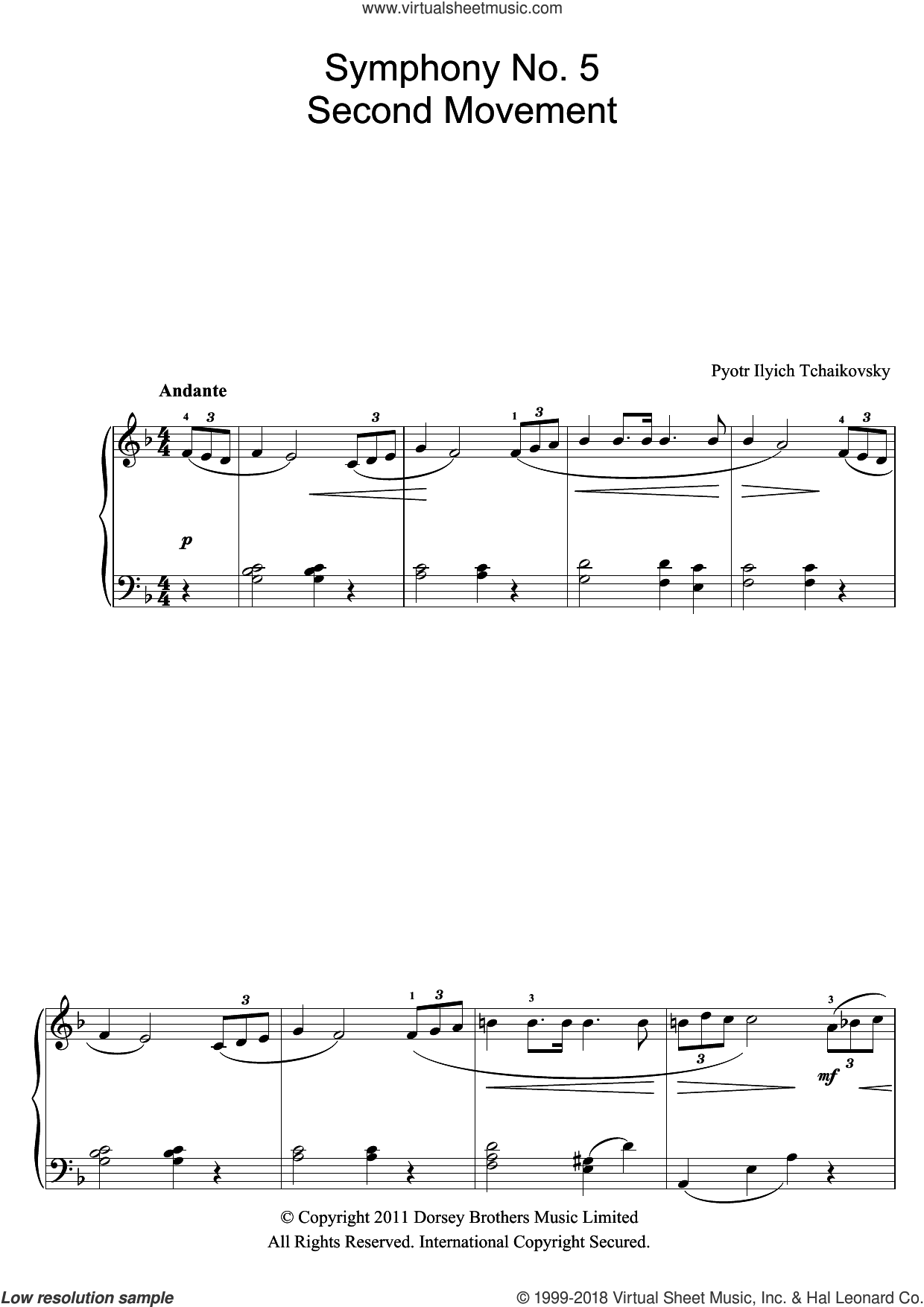 Symphony No.5 (2nd Movement: Andante) sheet music for piano solo (beginners) by Pyotr Ilyich Tchaikovsky, classical score, beginner piano (beginners)