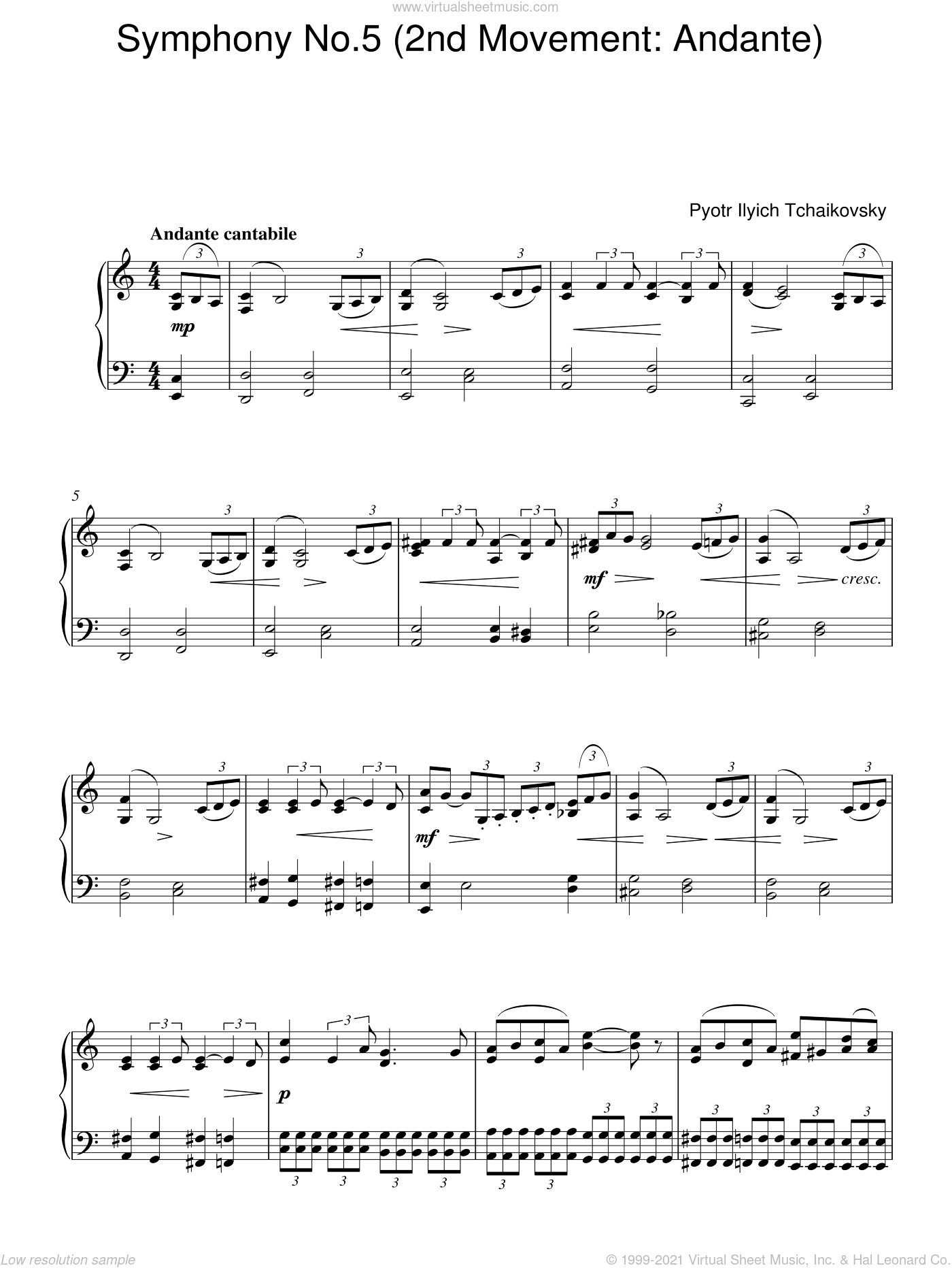 Symphony No. 5 (2nd Movement: Andante) sheet music for piano solo by Pyotr Ilyich Tchaikovsky