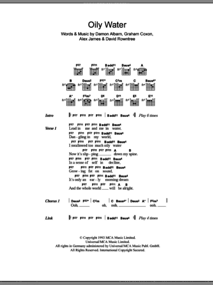 Oily Water sheet music for guitar (chords) by Graham Coxon, Blur, Alex James and Damon Albarn