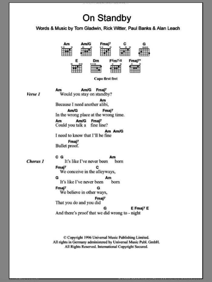 On Standby sheet music for guitar (chords) by Tom Gladwin