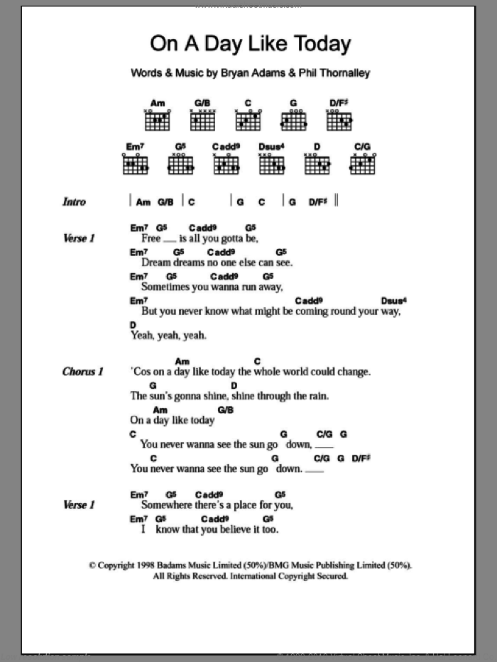 On A Day Like Today sheet music for guitar (chords, lyrics, melody) by Phil Thornalley