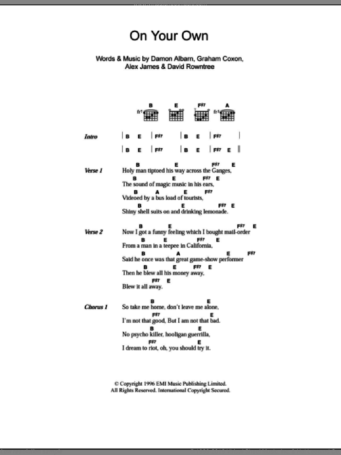 On Your Own sheet music for guitar (chords) by Graham Coxon, Blur, Alex James and Damon Albarn. Score Image Preview.