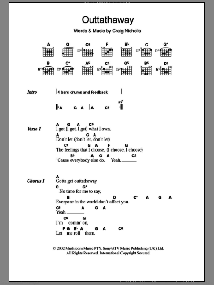 Outtathaway sheet music for guitar (chords) by The Vines, intermediate. Score Image Preview.