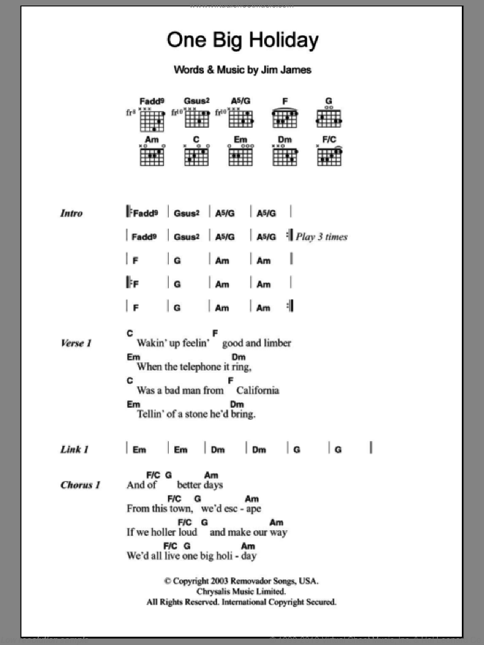 One Big Holiday sheet music for guitar (chords) by My Morning Jacket and Jim James, intermediate skill level