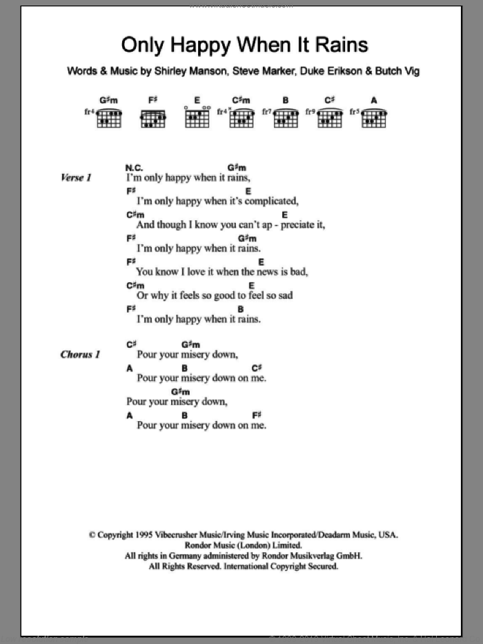 Only Happy When It Rains sheet music for guitar (chords, lyrics, melody) by Steve Marker