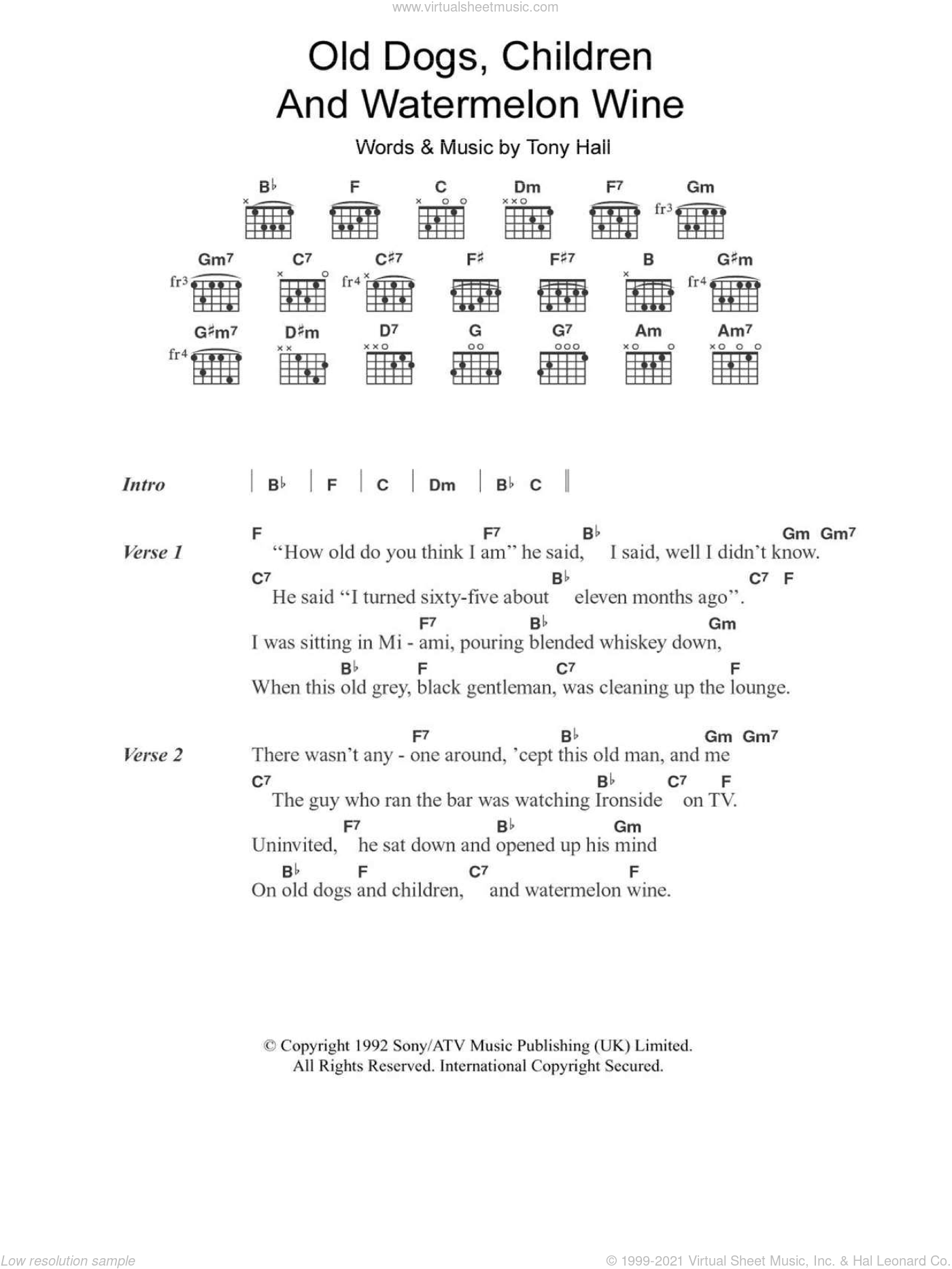 Old Dogs, Children And Watermelon Wine sheet music for guitar (chords) by Tony Hall