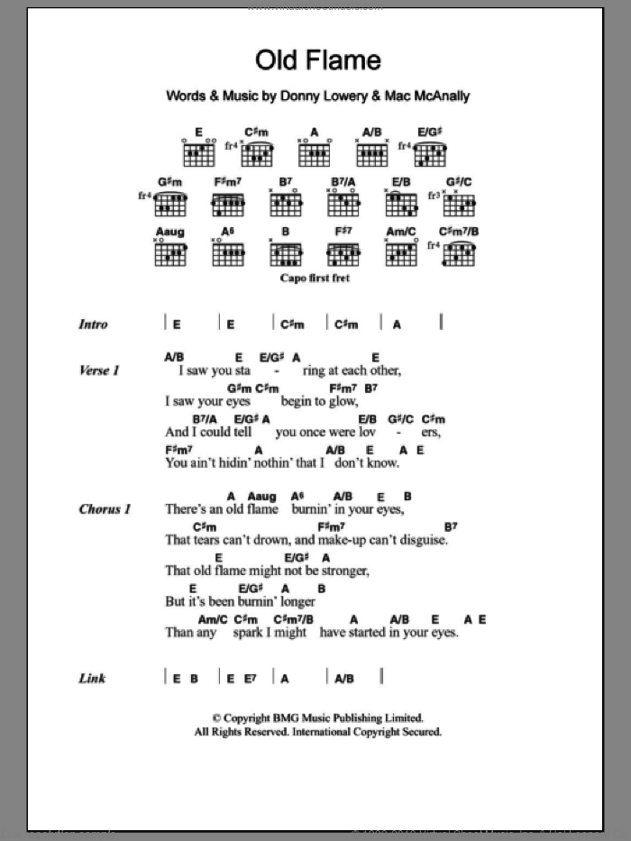 Old Flame sheet music for guitar (chords) by Mac McAnally and Alabama