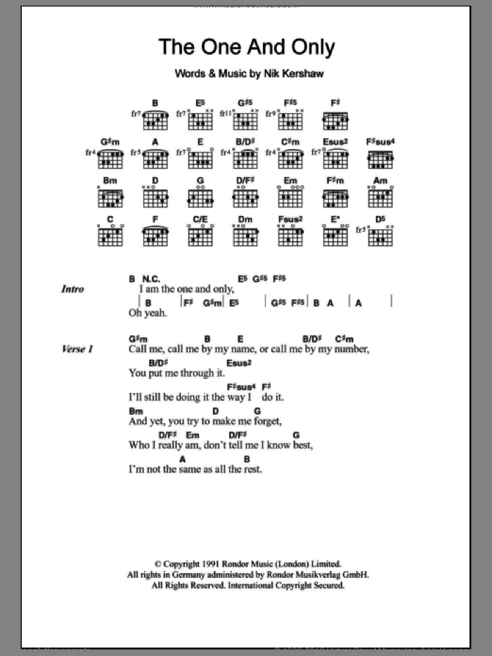 The One And Only sheet music for guitar (chords) by Chesney Hawkes and Nik Kershaw, intermediate. Score Image Preview.