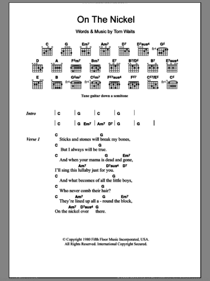 On The Nickel sheet music for guitar (chords) by Tom Waits, intermediate. Score Image Preview.