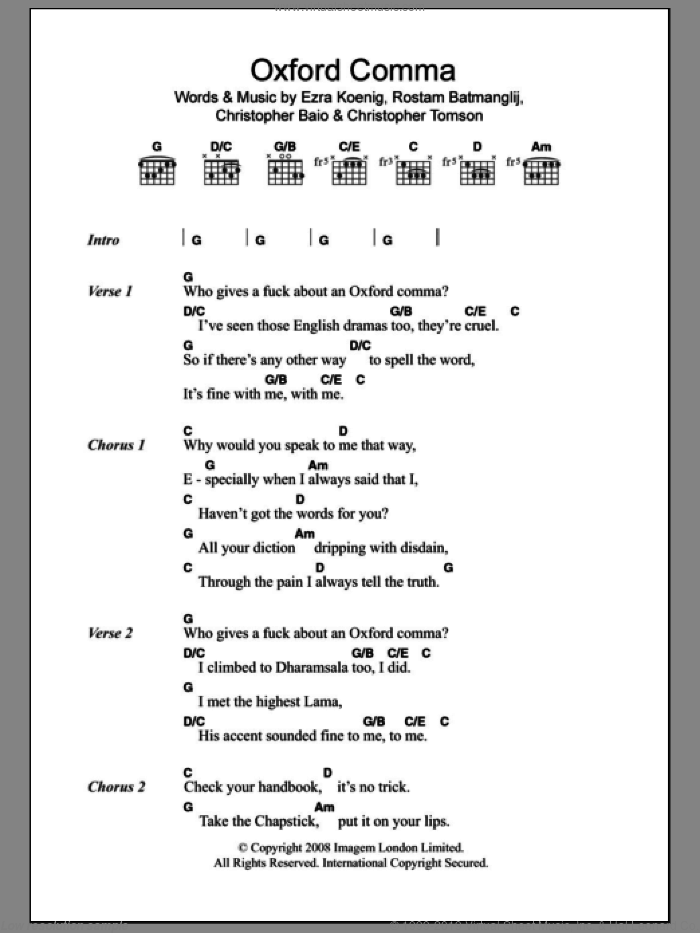 Oxford Comma sheet music for guitar (chords) by Rostam Batmanglij and Ezra Koenig. Score Image Preview.
