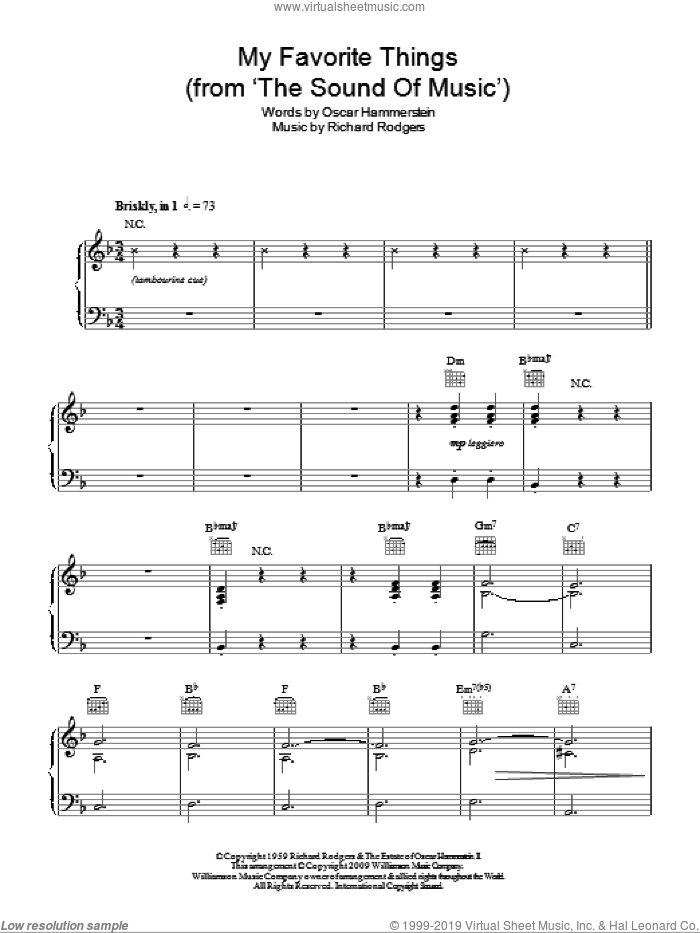 My Favorite Things sheet music for piano solo by Rodgers & Hammerstein, Oscar Hammerstein and Richard Rodgers, easy. Score Image Preview.