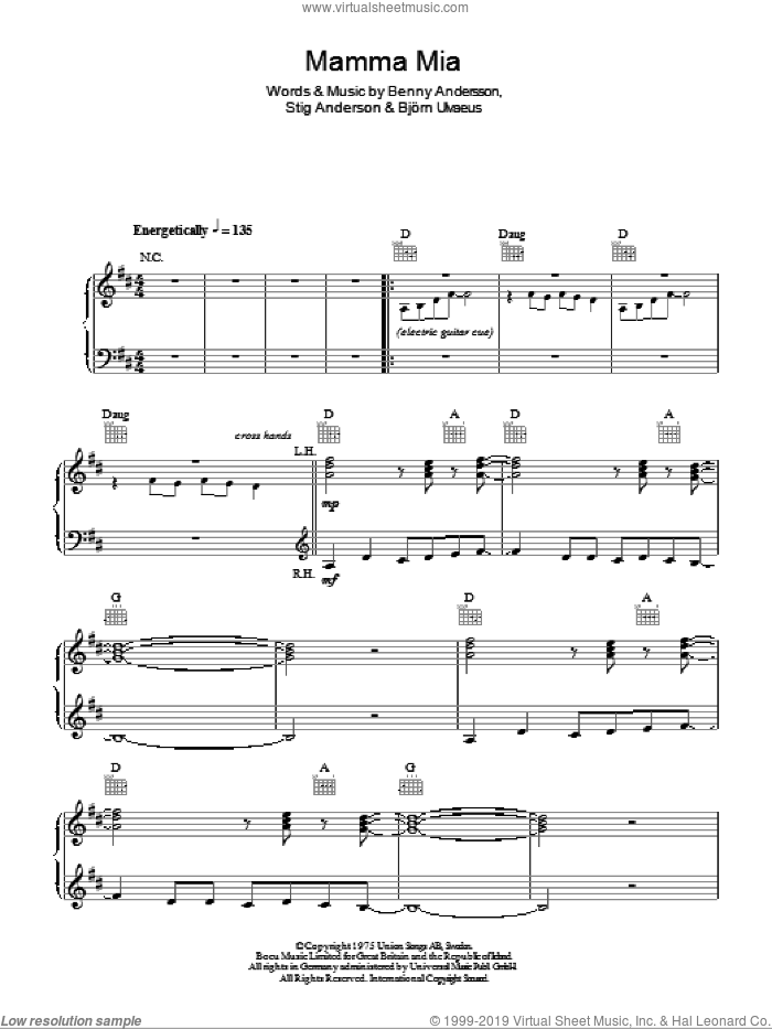 Mamma Mia sheet music for piano solo by Stig Anderson, ABBA, Benny Andersson and Bjorn Ulvaeus. Score Image Preview.