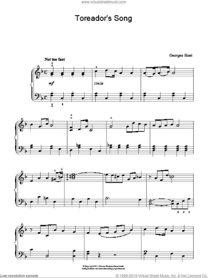 Toreador's Song (from Carmen) sheet music for piano solo by Georges Bizet, classical score, easy skill level