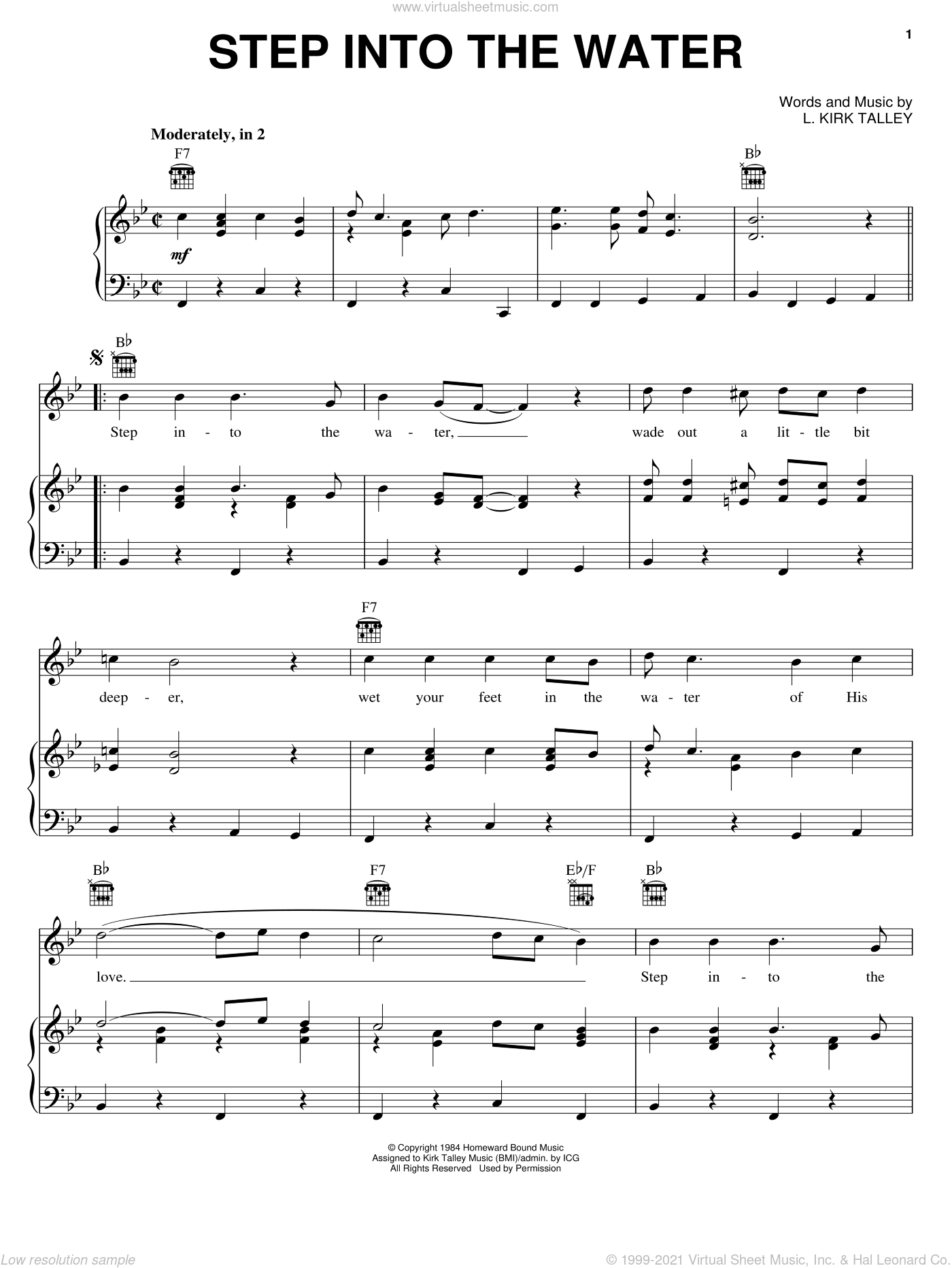 Step Into The Water sheet music for voice, piano or guitar by Kirk Talley, intermediate. Score Image Preview.