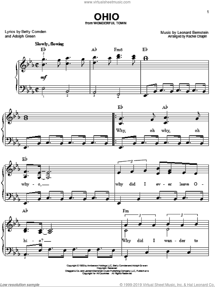 Ohio sheet music for piano solo by Leonard Bernstein, Adolph Green and Betty Comden, easy skill level
