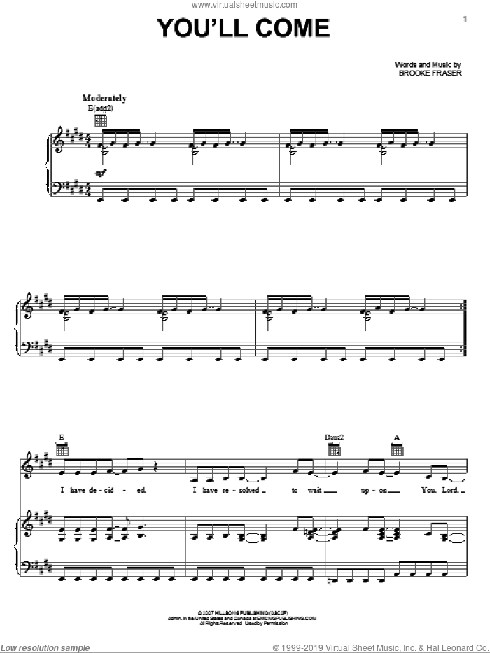You'll Come sheet music for voice, piano or guitar by Brooke Fraser, intermediate skill level