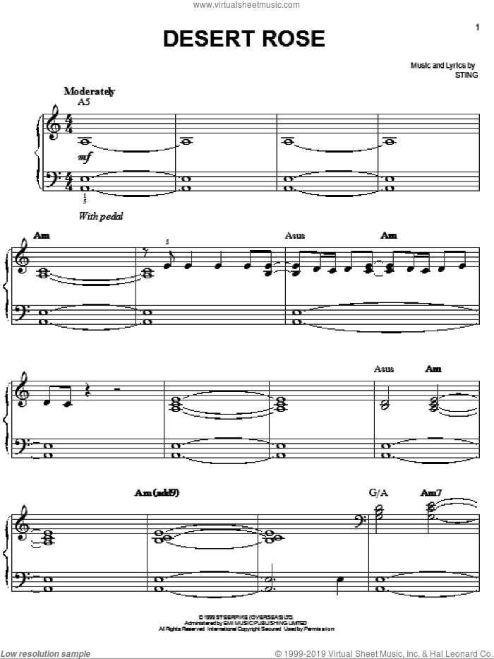 Desert Rose sheet music for piano solo by Sting, easy skill level