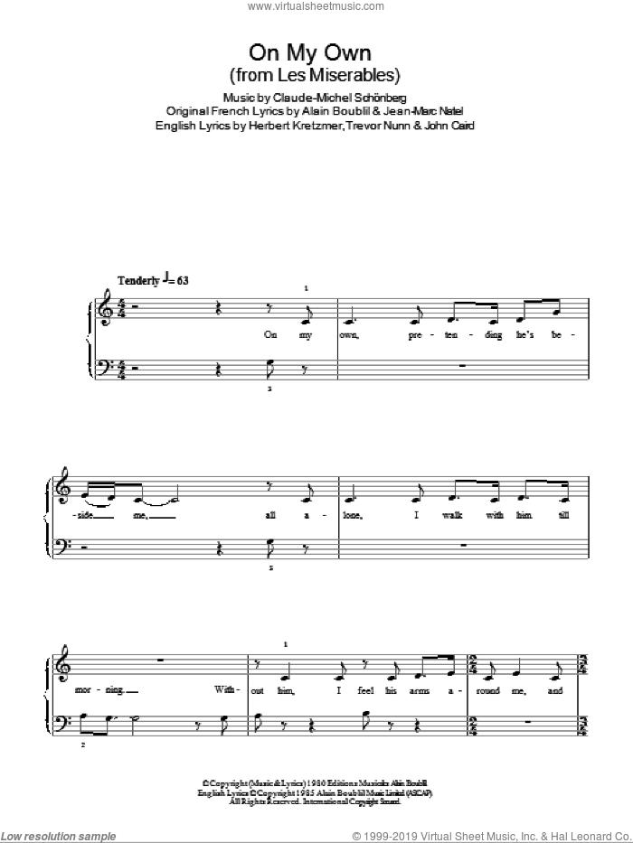 On My Own (from Les Miserables) sheet music for piano solo by Alain Boublil, Les Miserables (Musical), Claude-Michel Schonberg, Herbert Kretzmer, Jean-Marc Natel, John Caird and Trevor Nunn, easy skill level