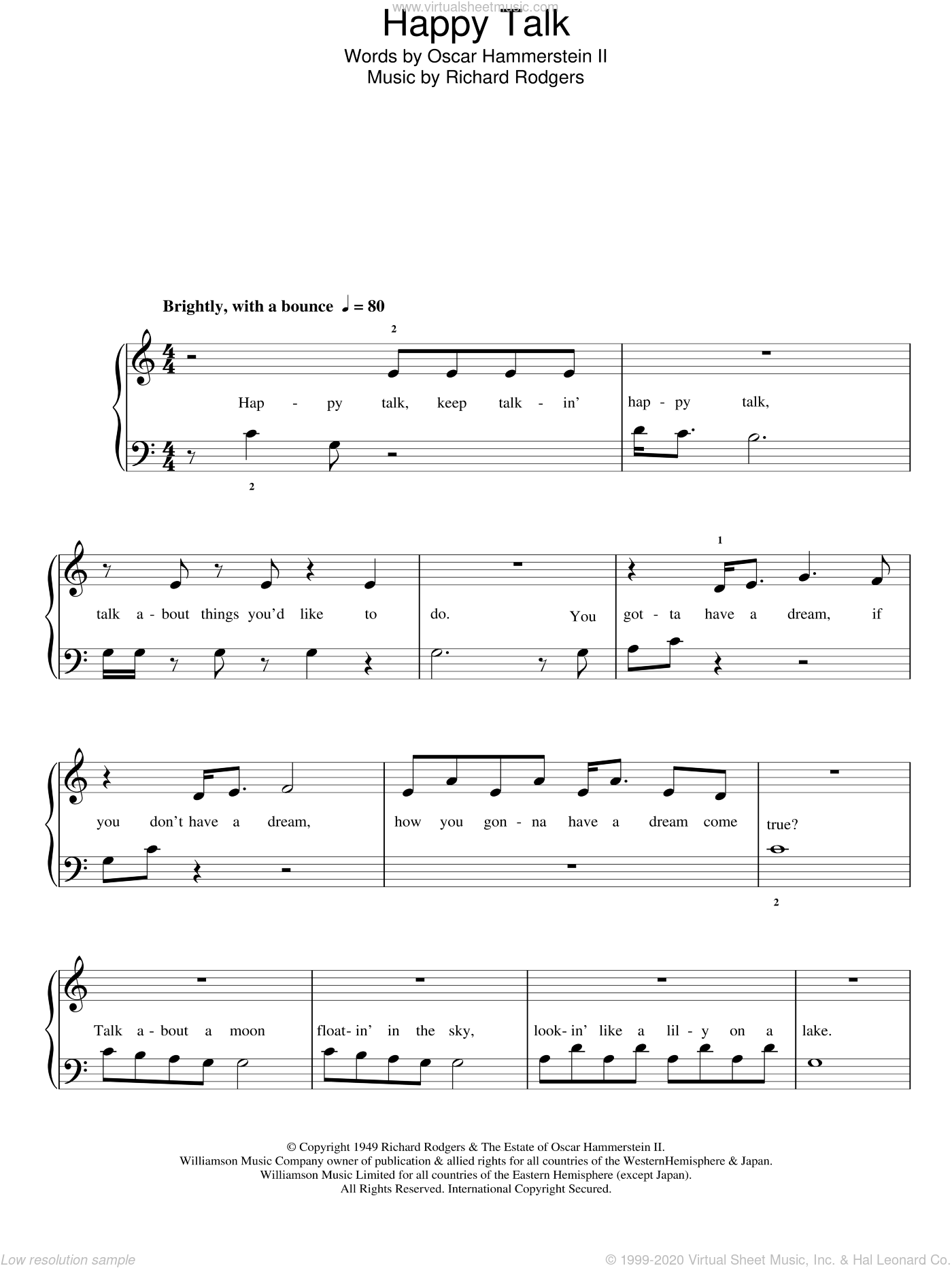 Happy Talk sheet music for piano solo by Richard Rodgers