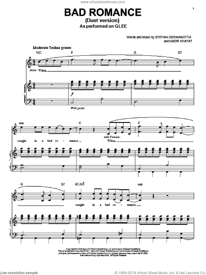 Bad Romance (Vocal Duet) sheet music for voice and piano by Glee Cast, Lady GaGa, Miscellaneous and Lady Gaga, intermediate. Score Image Preview.