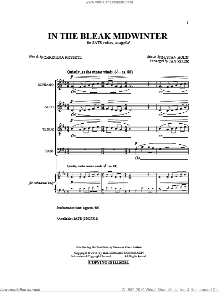 In The Bleak Midwinter sheet music for choir (SATB: soprano, alto, tenor, bass) by Gustav Holst, Christina Rossetti and Jay Rouse, intermediate skill level
