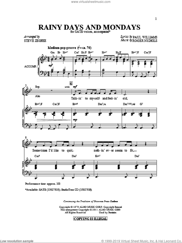 Rainy Days And Mondays sheet music for choir (SATB) by Paul Williams, Carpenters and Steve Zegree, intermediate choir (SATB). Score Image Preview.
