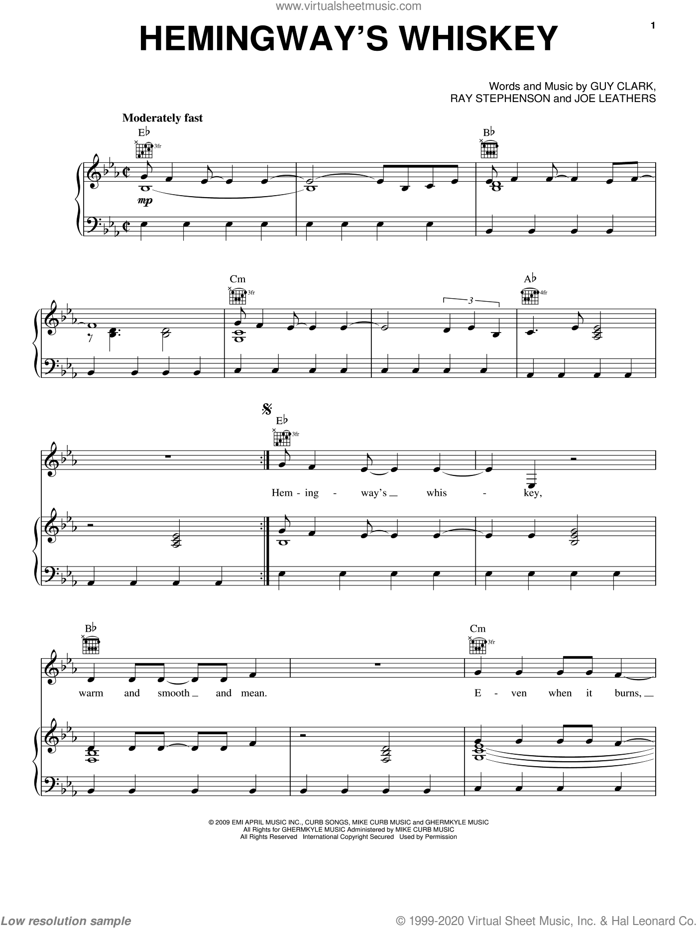Hemingway's Whiskey sheet music for voice, piano or guitar by Kenny Chesney, Guy Clark, Joe Leathers and Ray Stephenson, intermediate skill level