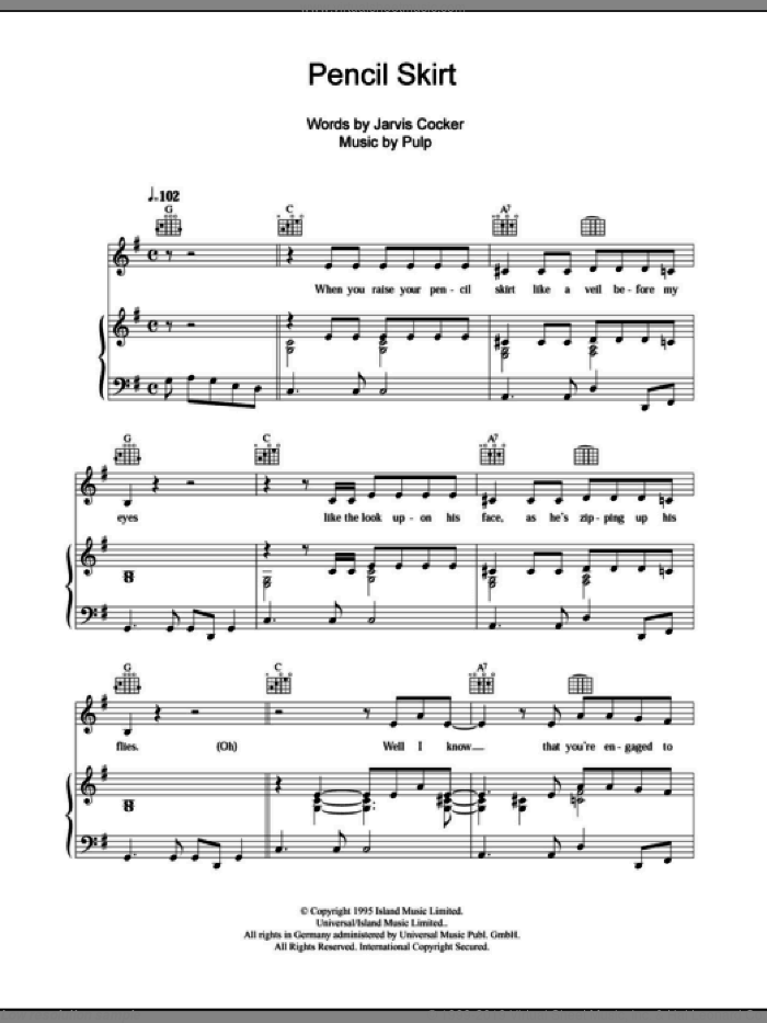 Pencil Skirt sheet music for voice, piano or guitar by Pulp and Jarvis Cocker, intermediate skill level