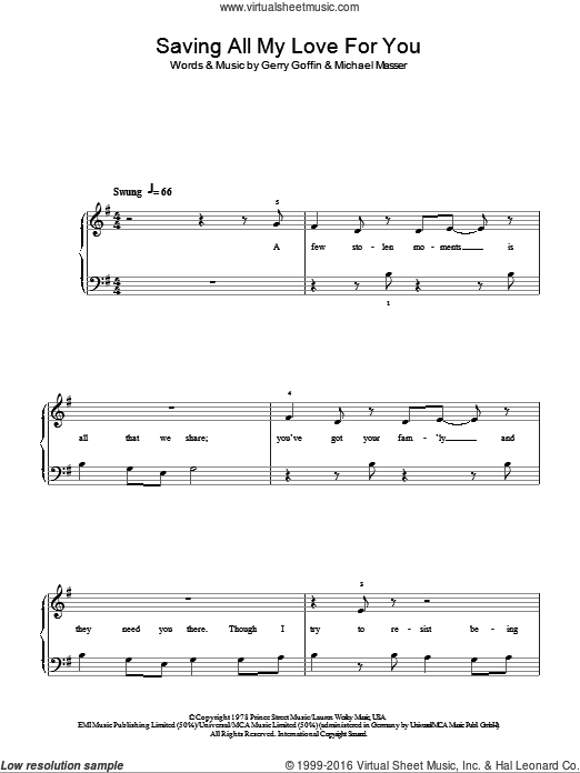 Saving All My Love For You sheet music for piano solo by Michael Masser, Whitney Houston and Gerry Goffin. Score Image Preview.