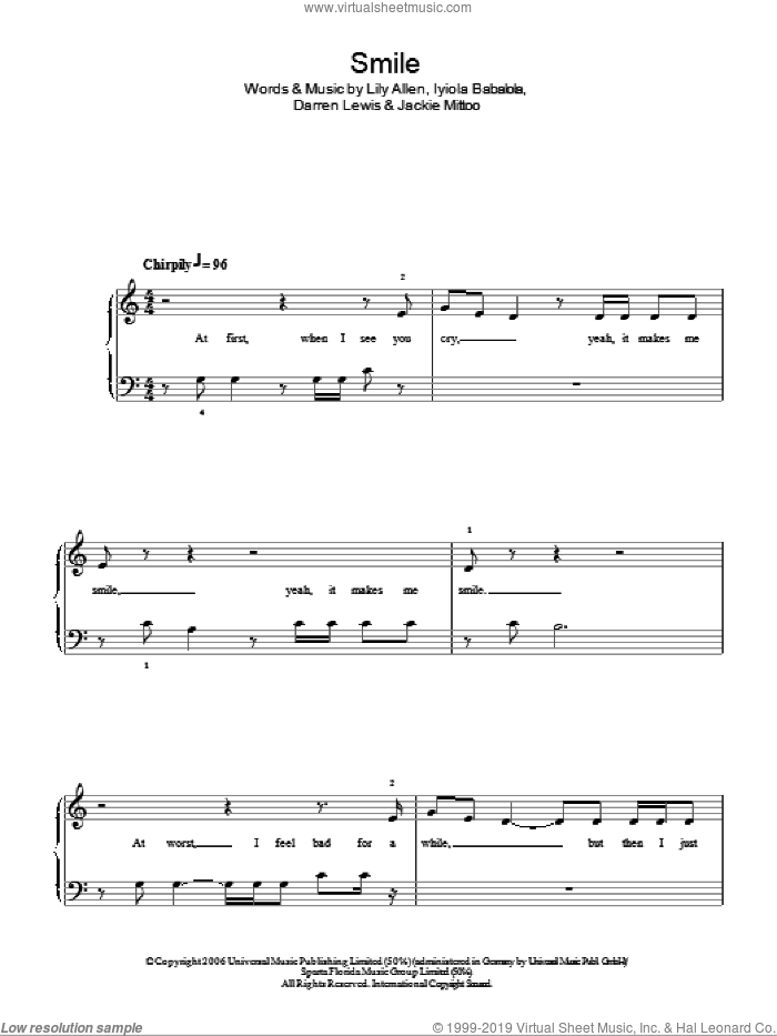 Smile sheet music for piano solo by Lily Allen, Darren Lewis, Iyiola Babalola and Jackie Mittoo, easy skill level