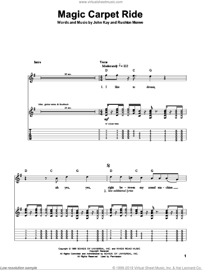 Magic Carpet Ride sheet music for guitar (tablature, play-along) by Rushton Moreve, Steppenwolf and John Kay. Score Image Preview.