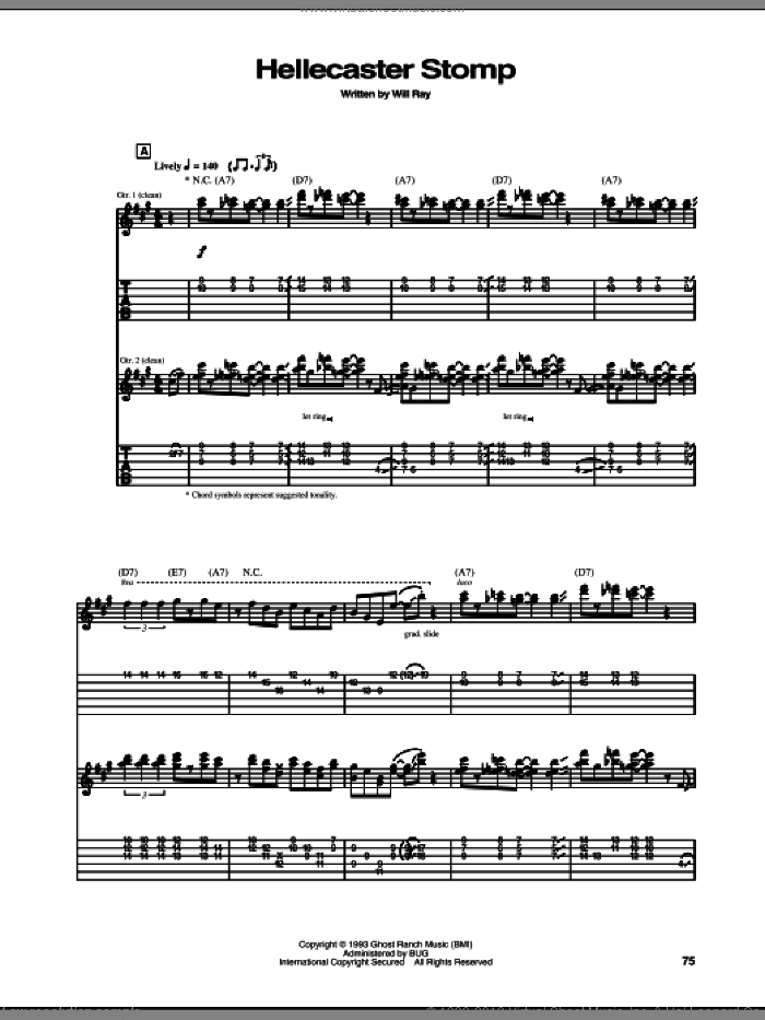 Hellecaster Stomp sheet music for guitar (tablature) by The Hellecasters and Will Ray, intermediate skill level