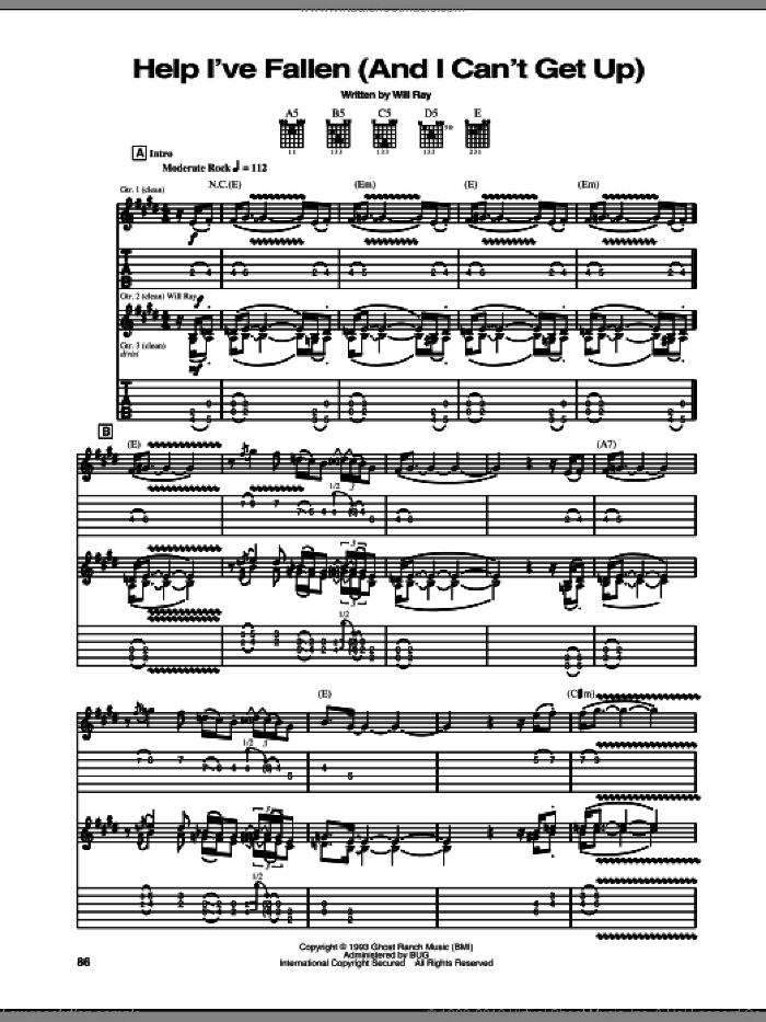 Help I've Fallen (And I Can't Get Up) sheet music for guitar (tablature) by The Hellecasters, intermediate guitar (tablature). Score Image Preview.