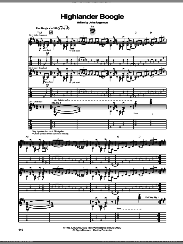 Highlander Boogie sheet music for guitar (tablature) by The Hellecasters and John Jorgenson, intermediate skill level