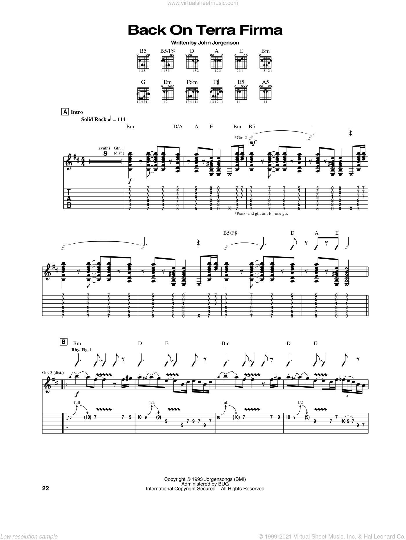 Back On Terra Firma sheet music for guitar (tablature) by John Jorgenson and The Hellecasters. Score Image Preview.