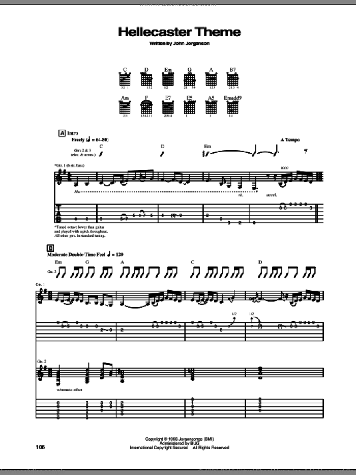 Hellecaster Theme sheet music for guitar (tablature) by The Hellecasters, intermediate. Score Image Preview.