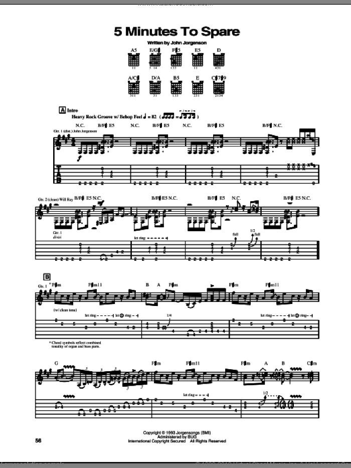 5 Minutes To Spare sheet music for guitar (tablature) by The Hellecasters and John Jorgenson, intermediate. Score Image Preview.