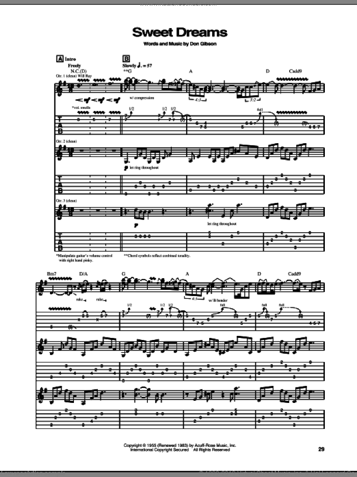Sweet Dreams sheet music for guitar (tablature) by The Hellecasters and Don Gibson, intermediate guitar (tablature). Score Image Preview.