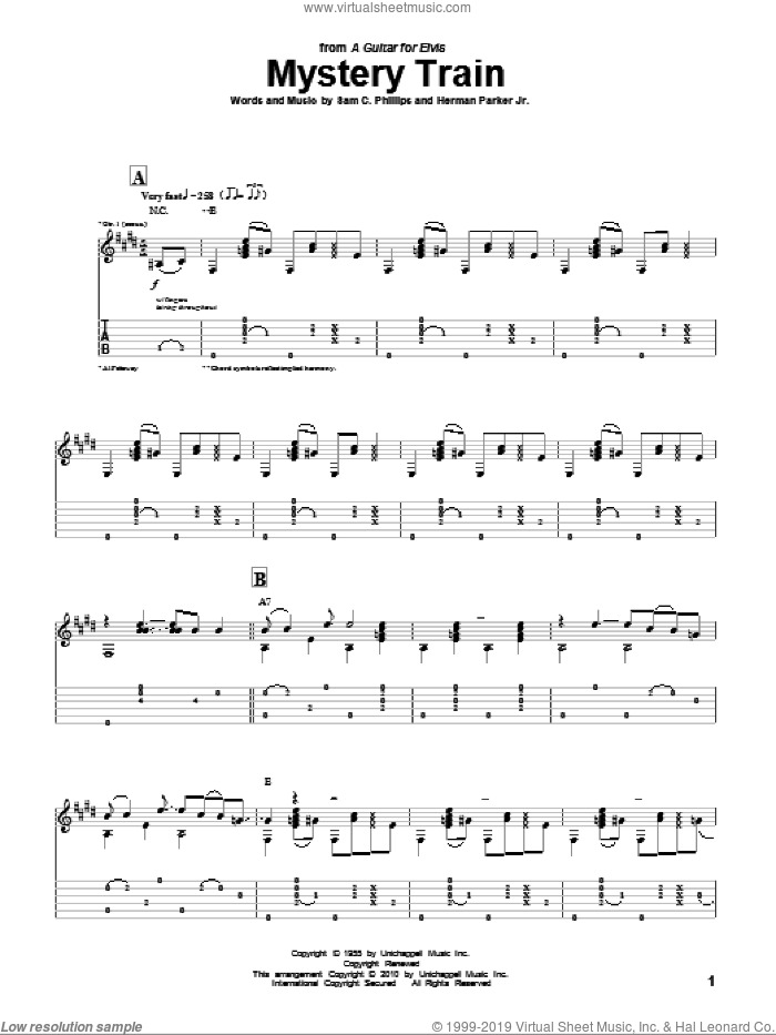 Mystery Train sheet music for guitar (tablature) by Al Petteway, Elvis Presley and Herman Parker Jr. Score Image Preview.