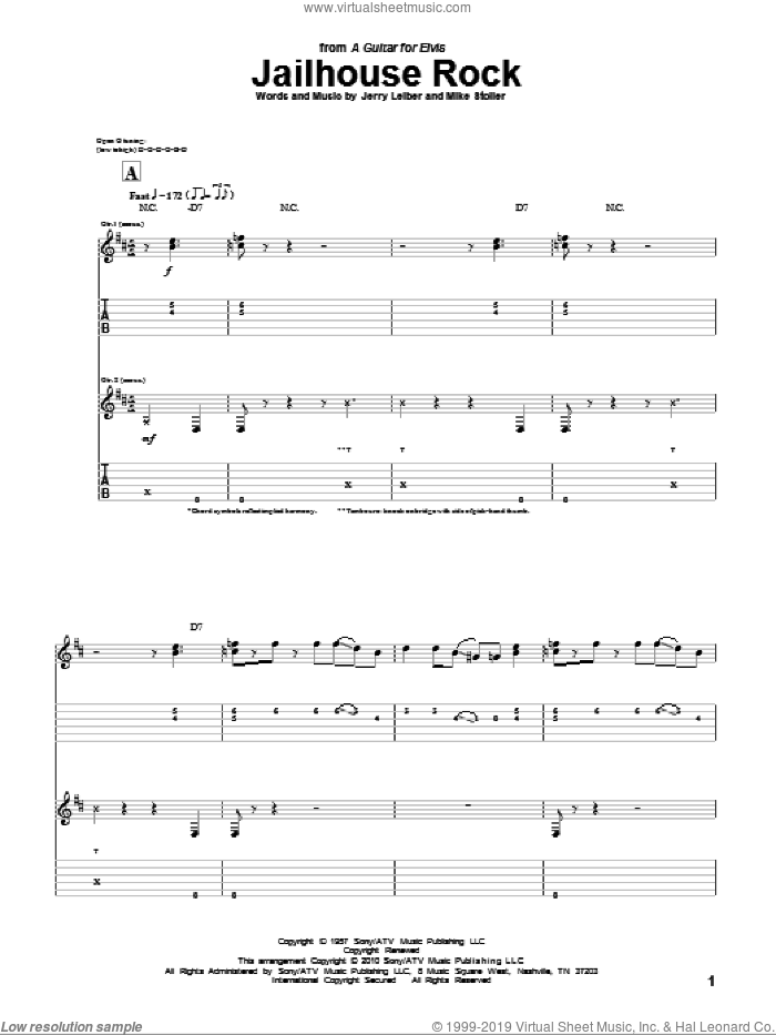 Jailhouse Rock sheet music for guitar (tablature) by Mike Stoller, Elvis Presley and Jerry Leiber. Score Image Preview.
