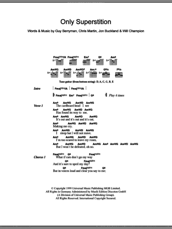 Only Superstition sheet music for guitar (chords) by Will Champion, Coldplay, Chris Martin, Guy Berryman and Jon Buckland. Score Image Preview.