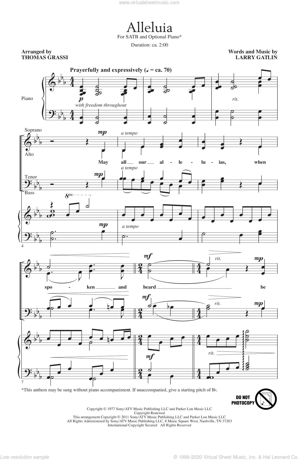Alleluia sheet music for choir and piano (SATB) by Larry Gatlin