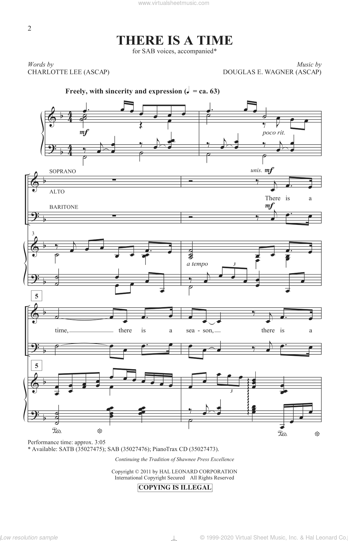 There Is A Time sheet music for choir and piano (SAB) by Charlotte Lee