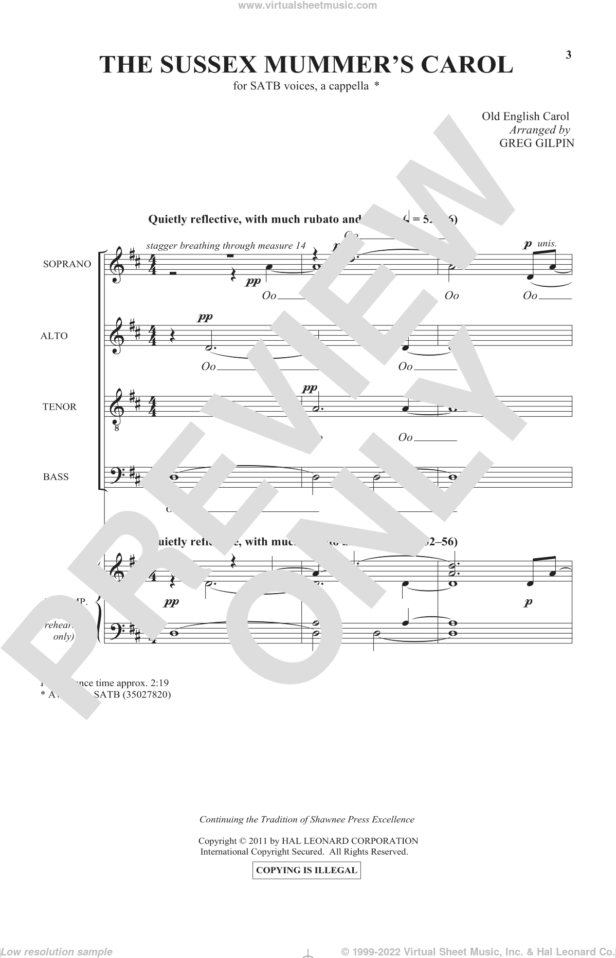 Sussex Carol sheet music for choir (SATB: soprano, alto, tenor, bass) by Greg Gilpin and Miscellaneous, intermediate skill level
