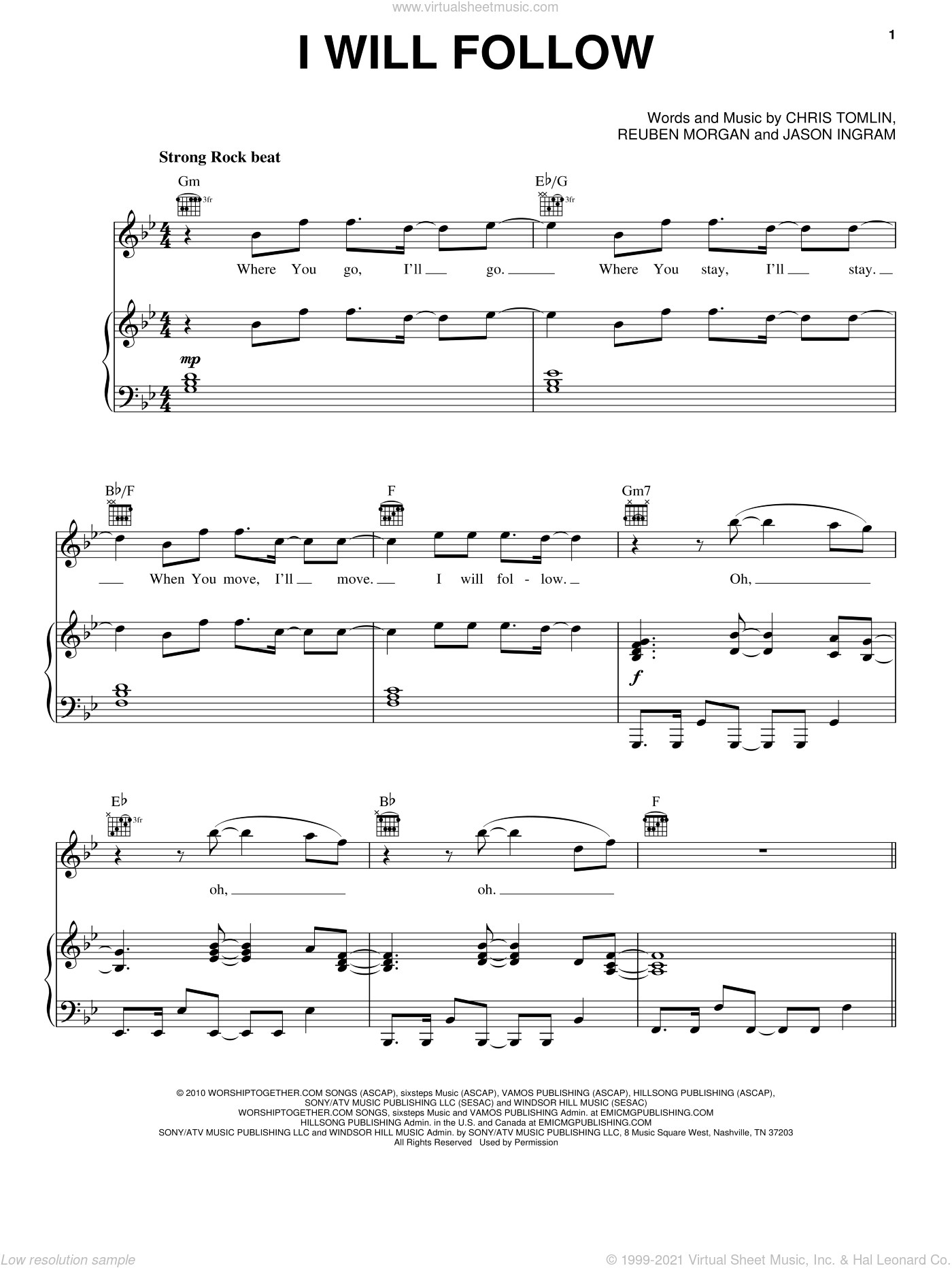 I Will Follow sheet music for voice, piano or guitar by Reuben Morgan, Chris Tomlin and Jason Ingram. Score Image Preview.