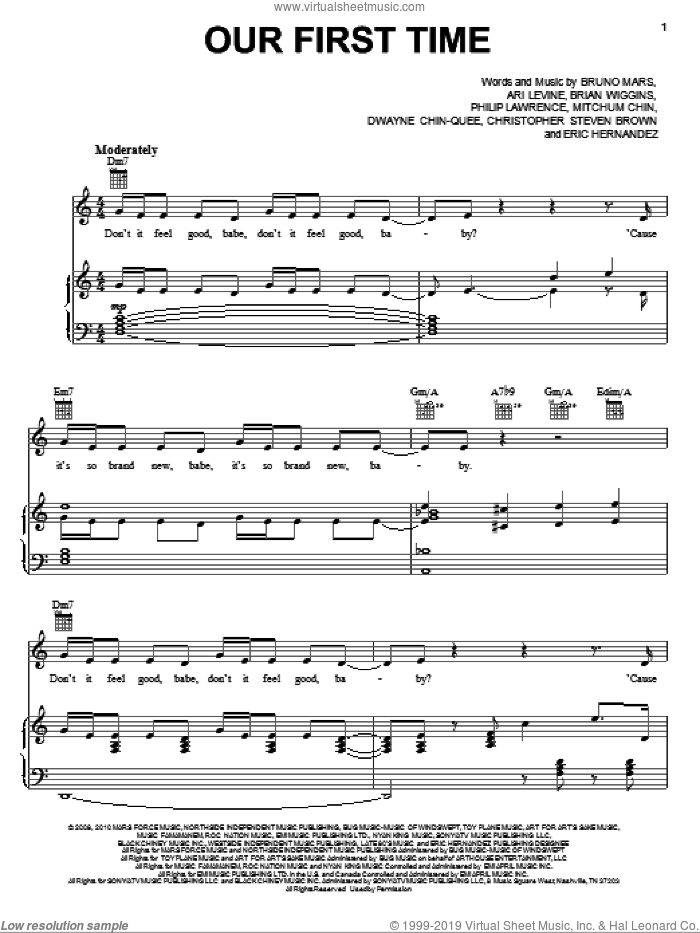 Our First Time sheet music for voice, piano or guitar by Bruno Mars, Ari Levine, Brian Wiggins, Christopher Steven Brown, Dwayne Chin-Quee, Eric Hernandez, Mitchum Chin and Philip Lawrence, intermediate skill level