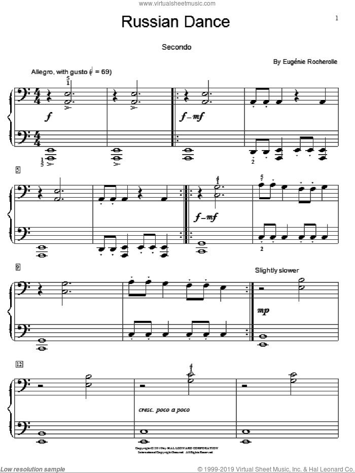 Russian Dance sheet music for piano four hands by Eugenie Rocherolle and Miscellaneous, intermediate skill level