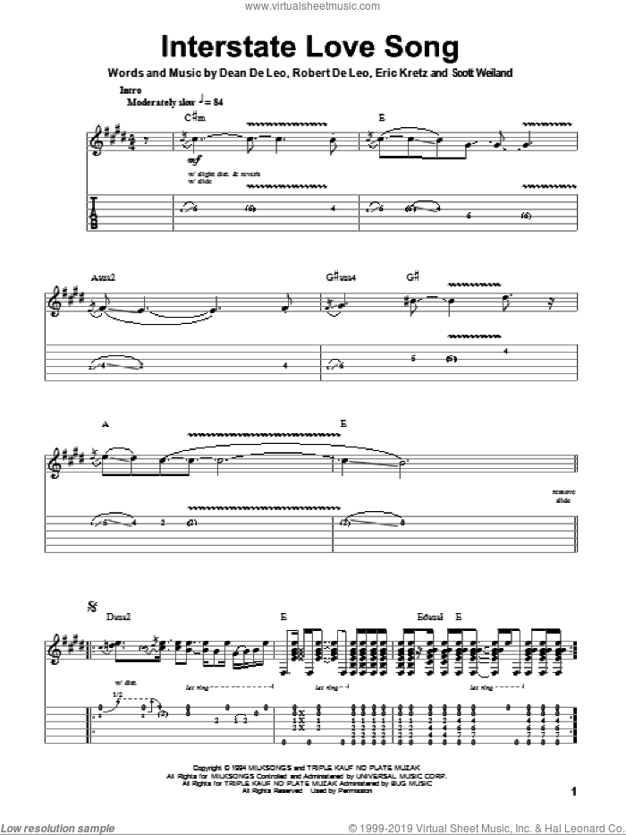 Interstate Love Song sheet music for guitar (tablature, play-along) by Scott Weiland. Score Image Preview.