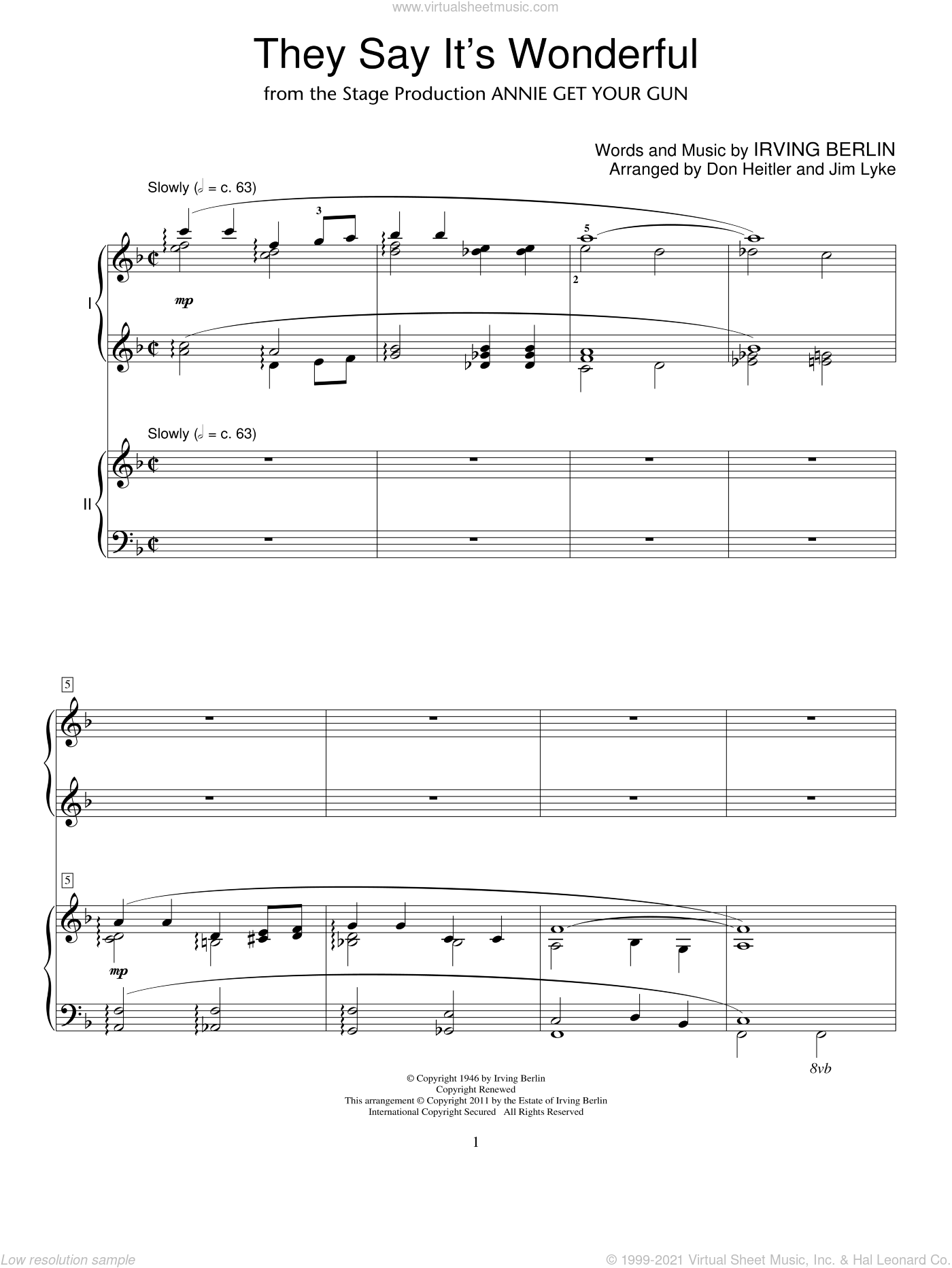 They Say It's Wonderful sheet music for two pianos by Irving Berlin and Annie Get Your Gun (Musical), intermediate duet